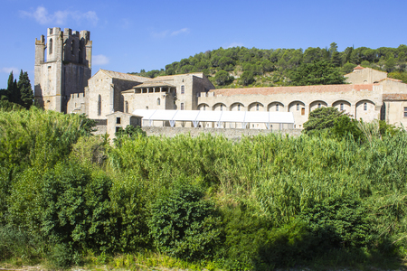 Views of the Abbey of St. Mary of Lagrasse (abbaye Sainte-Marie), France