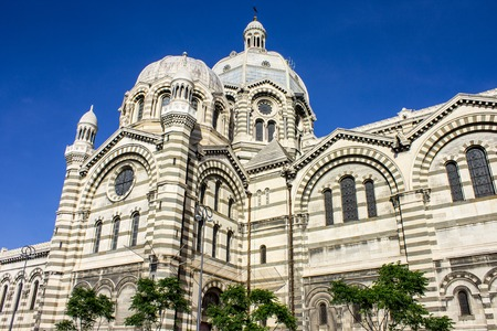 Marseille Cathedral (Cathedrale Sainte-Marie-Majeure or Cathedrale de la Major), a Roman Catholic cathedral and a national monument of France Stock Photo