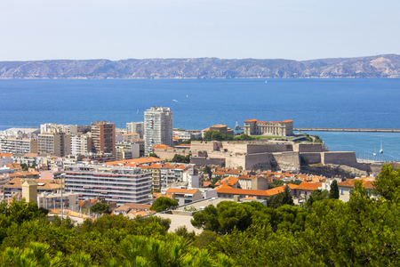 Views of Marseille, Frances second largest city, from the church of Notre-Dame de la Garde on a beautiful summer day Stock Photo