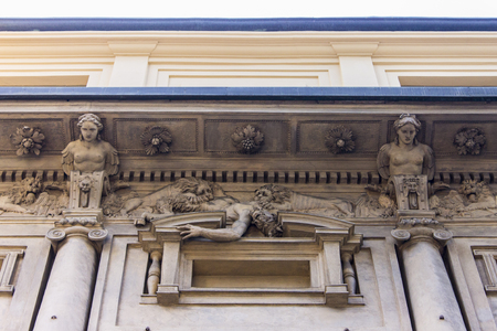 Casa degli Omenoni, a historic palace of Milan was designed by sculptor Leone Leoni for himself. It owes its name to the eight atlantes decorating its facade, termed omenoni (big men in Milanese)