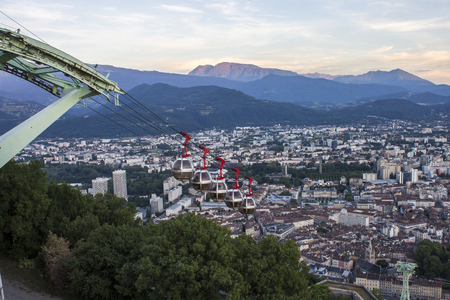 Aerial view of the streets of Grenoble from the Fort de la Bastille Stock Photo