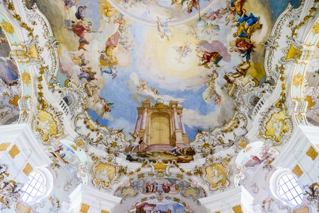 The Pilgrimage Church of Wies (Wieskirche), an oval rococo church located in the foothills of the Alps, Bavaria, Germany.