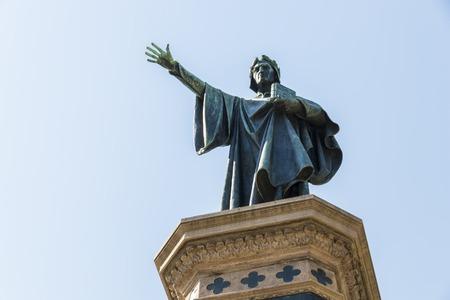 dante alighieri: Monument to Dante Alighieri in the Italian city of Trento, built in 1896 as a symbol of the Italianism of the city Stock Photo