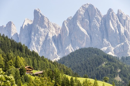 Views of Furchetta and Sass Rigais (3,025 m) along with other mountains of the Geisler group in the northwestern Dolomites, South Tyrol, northern Italy. Stock Photo