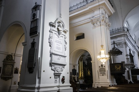 Funerary monument on a pillar in Holy Cross Church, Warsaw, Poland, enclosing the heart of Polish composer Frederic Chopin