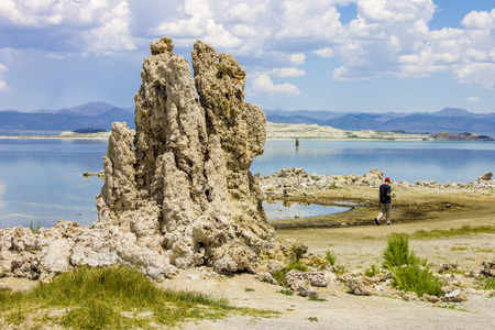 Mono Lake, a large, shallow saline soda lake in Mono County, California, with tufa rock formations