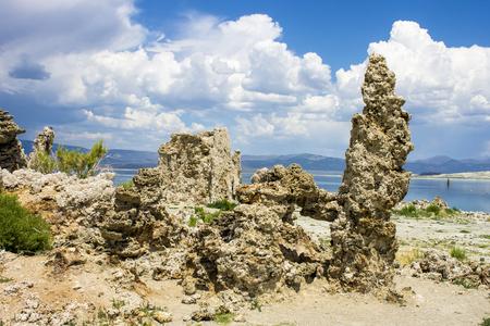 Mono Lake, a large, shallow saline soda lake in Mono County, California, with tufa rock formations