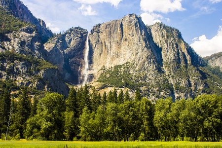Views of Yosemite Falls from Yosemite Valley, the highest waterfall in North America. Yosemite National Park, California Фото со стока