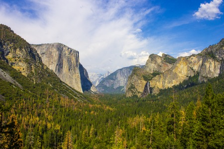Views of El Capitan and Yosemite Valley from the Tunnel View observation area. Yosemite National Park, California.