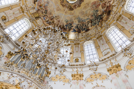 Frescos under the dome of Ettal Abbey (Kloster Ettal), a Benedictine monastery in the village of Ettal, Bavaria, Germany Editorial