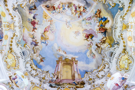 Inside the Pilgrimage Church of Wies (Wieskirche), an oval rococo church located in the foothills of the Alps, Bavaria, Germany.