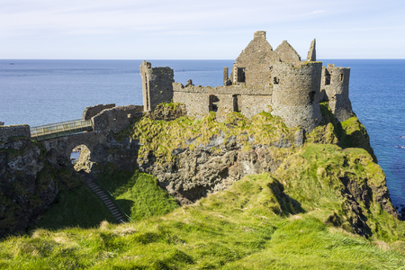 Dunluce Castle (Irish: D�n Libhse), a now-ruined medieval castle located on the edge of a basalt outcropping in County Antrim, Northern Ireland