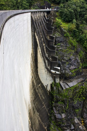 The Contra Dam, an arch dam on the Verzasca River in Ticino, Switzerland
