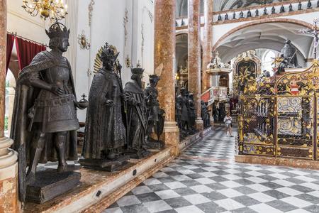 Cenotaph of Maximilian I, Holy Roman Emperor, inside the Hofkirche (Court Church). Innsbruck, State of Tyrol, Austria Editorial