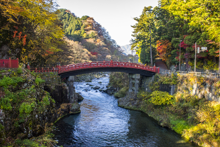 The Shinkyo Bridge or Sacred Bridge, one of the most famous landmarks in Nikko, Japan, part of Futarasan jinja Shinto shrine and a World Heritage Site since 1999