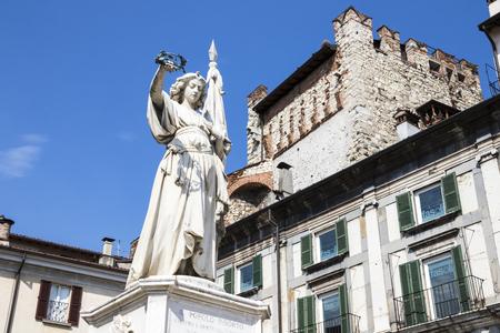 The Statue of Victory, a memorial of Italian war against Austria. Piazza della Loggia, Brescia, Italy