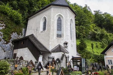 The Charnel House (Beinhaus) and the cemetery of the Catholic Church of the Assumption in Hallstatt, Salzkammergut, Austria
