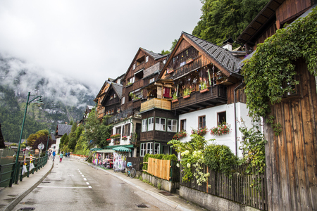 Traditional houses in Hallstatt, part of Dachstein-Salzkammergut Cultural Landscape, a World Heritage Site in Austria Stock Photo
