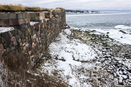 Walls and fortifications of Suomenlinna fortress, Helsinki, Finland