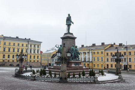 Monument to Alexander II of Russia, The Liberator, sculpted by Walter Runeberg, at the Senate Square in Helsinki, the capital of Finland Stock Photo