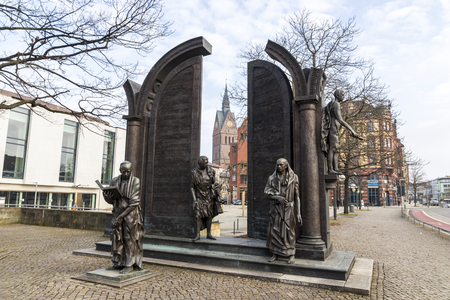 Hannover, Germany. Momument to the Gottingen Seven, a group of seven professors which protested in 1837 against the abolition of the constitution of the Kingdom of Hanover by Ernest Augustus Editorial