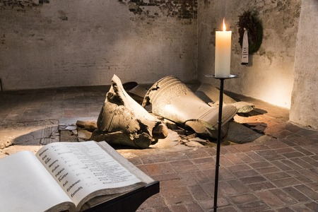 Lubeck, Germany. The broken bells which fell to the ground in the fire and air raid of 1942 in the Gedenk Kapelle (Commemorative Chapel) at Saint Mary's Church (Marienkirche)