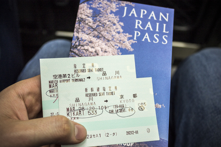 Hand holding a Japan Rail Pass with two tickets for the Japanese JR train Shinkansen network from Shinagawa to Kyoto