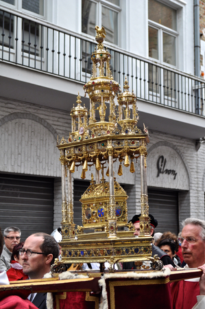 Bruges, Belgium. The Procession of the Holy Blood (Heilig Bloedprocessie), a large religious Catholic procession on Ascension Day. Relic of the Holy Blood of Christ