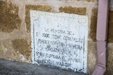 Peleas de Arriba, Spain. Commemorative plaque in the Church of Our Lady of the Assumption (Iglesia de la Asuncion) Editorial