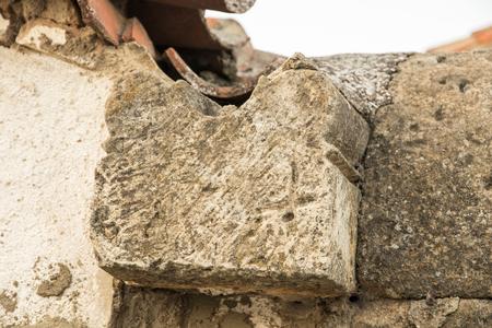 Peleas de Arriba, Spain. Stonemasonry with mason's mark from the ancient former Monastery of Valparaiso used in new houses and walls of the town of Peleas de Arriba