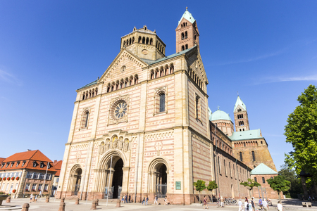 Speyer, Germany. West facade of the Imperial Cathedral Basilica of the Assumption and Saint Stephen. A World Heritage Site since 1981 and largest romanesque cathedral in the world Reklamní fotografie