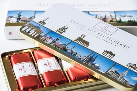 Lubeck, Germany. Lubeck marzipans open box, produced by J. G. Niederegger GmbH and Co KG