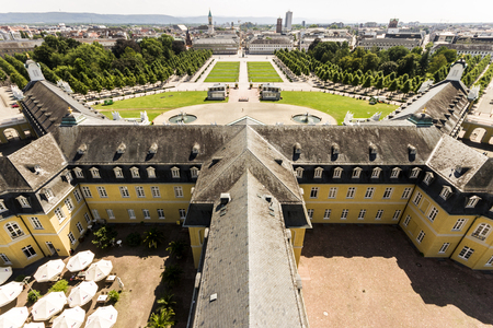 Views of the German city of Karlsruhe from the tower of Karlsruhe Palace (Karlsruher Schloss). Baden-Wurttemberg, Germany