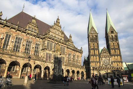 Bremen, Germany. Bremen City Hall (Bremer Rathaus), statue of Roland and Cathedral (Sankt Petri Dom). World Heritage Site since 2004 Editorial
