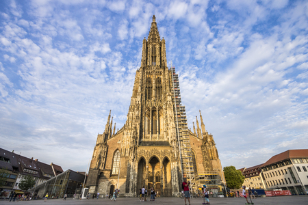 Ulm, Germany. The Ulm Minster (Ulmer Munster), a Lutheran temple and tallest church in the world Stok Fotoğraf