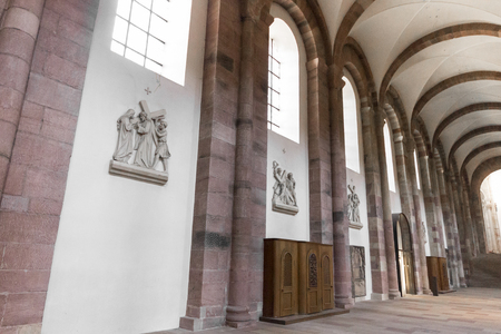 Speyer, Germany. Interior view of the Imperial Cathedral Basilica of the Assumption and Saint Stephen. A World Heritage Site since 1981 and largest romanesque cathedral in the world