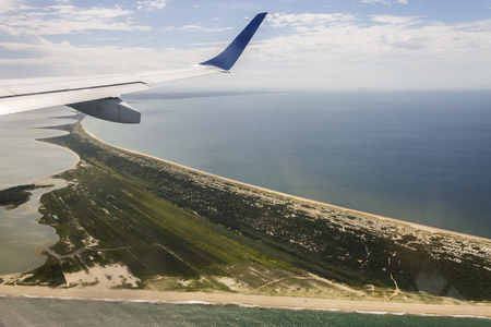 Views of the Head of the Harbor in Nantucket island, Massachusetts, from a charted flight
