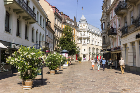 Baden-Baden, Germany. Views of one of the streets of the Old Town (Altstadt), on a sunny summer day