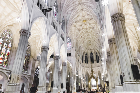New York City. The Cathedral of St. Patrick, a decorated Neo-Gothic-style Roman Catholic cathedral church in the United States and a prominent landmark of the Fifth Avenue in Manhattan