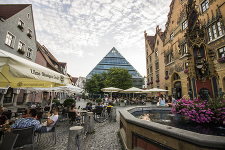 Ulm, Germany. Views of Ulm Marktplatz (market square) with the Rathaus (town hall, right) and Stadtbibliothek (Public Library, center)