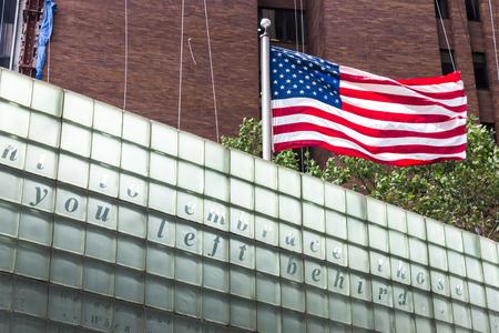 New York City. American flag waving in the Vietnam Veterans Plaza, a war memorial that honors New York City citizens who served during the Vietnam War