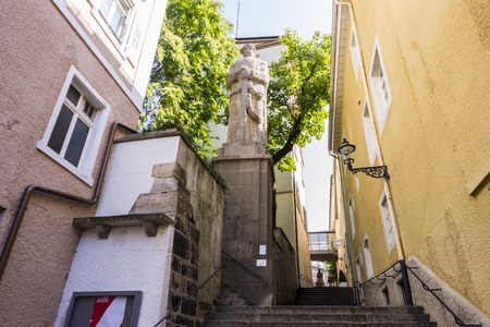 Baden-Baden, Germany. Jesuitenstaffeln, a street in the Old Town (Altstadt), with a statue of Otto von Bismarck, first Chancellor of the German Empire, made in 1915 by Oskar Alexander Kiefer