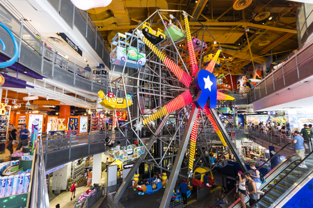 New York City. The Toys R Us Flagship store at Times Square, with its signature indoor Ferris wheel