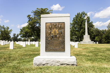 Arlington, Virginia. The Space Shuttle Challenger Memorial at Arlington National Cemetery. The Challenger exploded on Jan 28, 1986 just seconds after take off killing all seven crew members