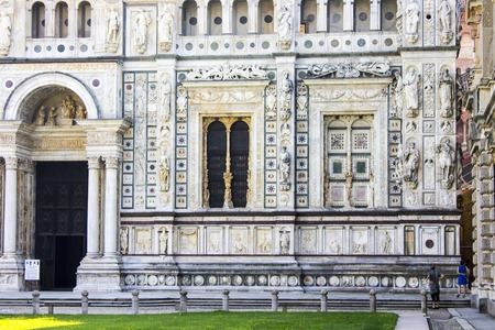 The Certosa di Pavia, a monastery and complex in Lombardy, northern Italy, situated 8 km north of Pavia. Built in 1396-1495, one of the largest monasteries in Italy
