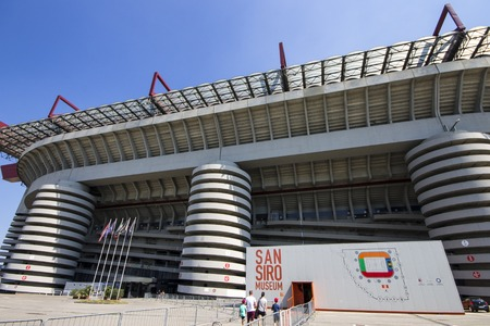 The Stadio Giuseppe Meazza, commonly known as San Siro. A football stadium in Milan, Italy, which is the home of A.C. Milan and Inter Milan