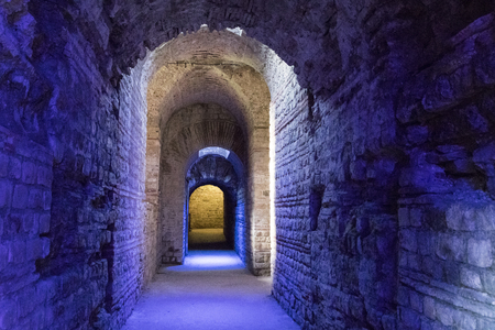 Trier, Germany. The Imperial Baths (Kaiserthermen), a large Roman bath complex from the ancient city of Augusta Treverorum.