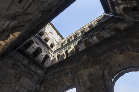 Trier, Germany. The Porta Nigra (Latin for black gate), a large Roman city gate of the ancient city of Augusta Treverorum. Stock Photo