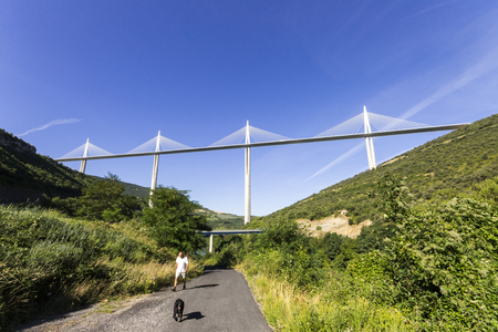 The Millau Viaduct, a cable stayed bridge that spans the valley of the River Tarn near Millau in southern France. Tallest bridge in the world with one mast's summit at 343 m Editorial