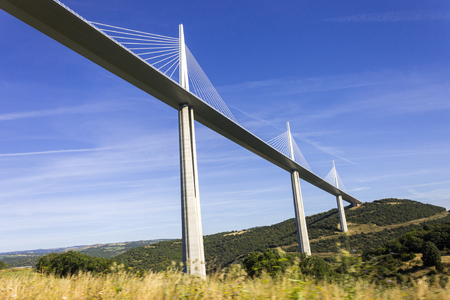 The Millau Viaduct, a cable stayed bridge that spans the valley of the River Tarn near Millau in southern France. Tallest bridge in the world with one mast's summit at 343 m Éditoriale